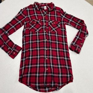 DIVIDED long sleeve plaid tunic button up shirt 2